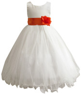 Curly Bottom Ivory Gown, Orange Sash