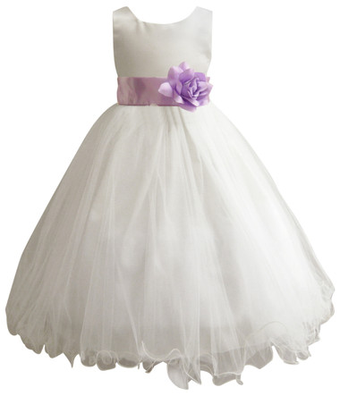 Curly Bottom Ivory Gown, Lilac Sash