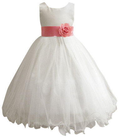 Curly Bottom Ivory Gown, Coral Sash