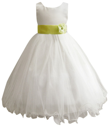 Curly Bottom Ivory Gown, Green Lime Sash