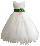 Curly Bottom Ivory Gown, Green Kelly Sash