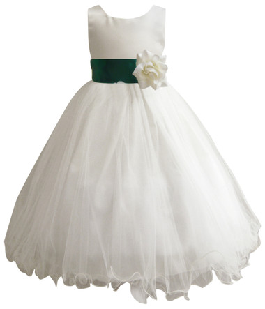 Curly Bottom Ivory Gown, Green Hunter Sash