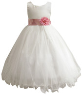 Curly Bottom Ivory Gown, Dusty Rose Sash