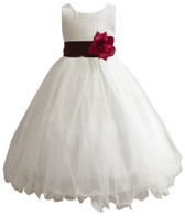 Curly Bottom Ivory Gown, Burgundy Sash