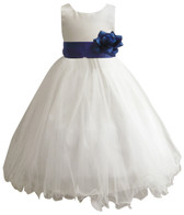 Curly Bottom Ivory Gown, Blue Royal Sash