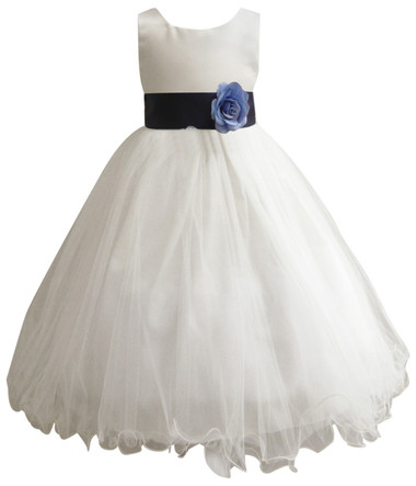 Curly Bottom Ivory Gown, Blue Navy Sash