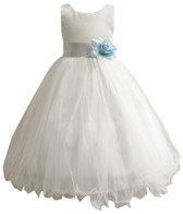 Curly Bottom Ivory Gown, Blue Aqua Sash