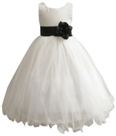 Curly Bottom Ivory Gown, Black Sash