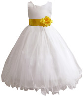 Curly Bottom White Gown, Yellow Sash