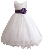 Curly Bottom White Gown, Purple Sash