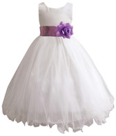 Curly Bottom White Gown, Lilac Sash