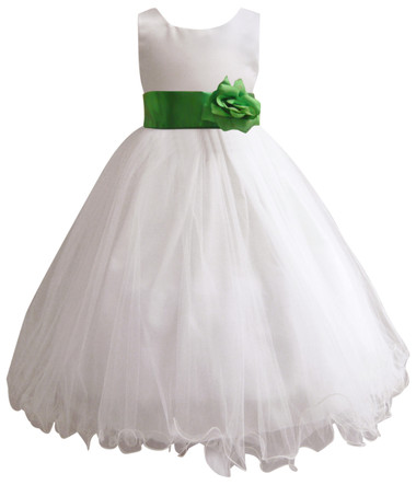 Curly Bottom White Gown, Green Kelly Sash