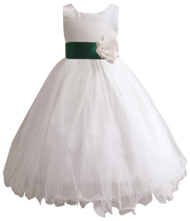 Curly Bottom White Gown, Green Hunter Sash