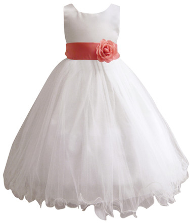 Curly Bottom White Gown, Coral Sash