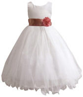 Curly Bottom White Gown, Dusty Rose Sash