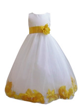 Flower Girl Dress Rose Petal Ivory, Yellow