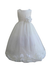 Flower Girl Dress Rose Petal Ivory, White