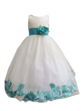 Flower Girl Dress Rose Petal Ivory, Teal
