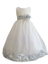 Flower Girl Dress Rose Petal Ivory, Silver