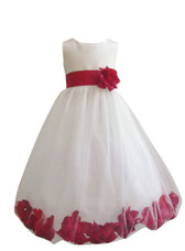 Flower Girl Dress Rose Petal Ivory, Red Cherry