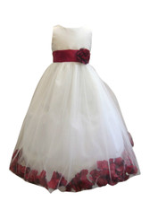 Flower Girl Dress Rose Petal Ivory, Red