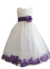 Flower Girl Dress Rose Petal Ivory, Purple