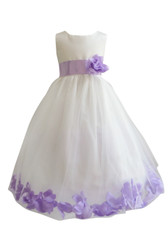 Flower Girl Dress Rose Petal Ivory, Lilac