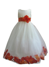 Flower Girl Dress Rose Petal Ivory, Orange