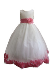 Flower Girl Dress Rose Petal Ivory, Coral