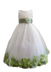 Flower Girl Dress Rose Petal Ivory, Green Sage
