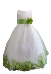Flower Girl Dress Rose Petal Ivory, Green Apple