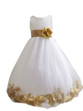 Flower Girl Dress Rose Petal Ivory, Gold