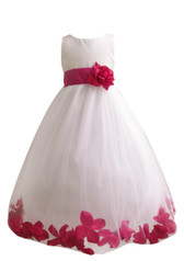 Flower Girl Dress Rose Petal Ivory, Fuchsia