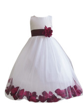 Flower Girl Dress Rose Petal Ivory, Burgundy