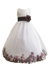 Flower Girl Dress Rose Petal Ivory, Brown Cafe