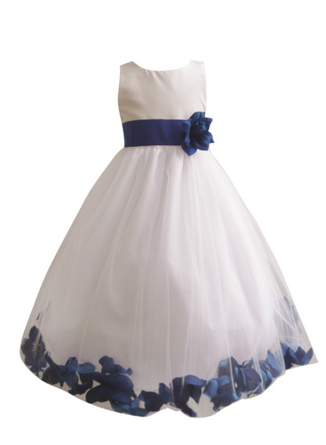 Flower Girl Dress Rose Petal Ivory, Blue Royal