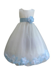 Flower Girl Dress Rose Petal Ivory, Blue Sky