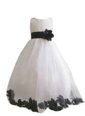 Flower Girl Dress Rose Petal Ivory, Black