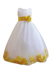 Flower Girl Dress Rose Petal White, Yellow