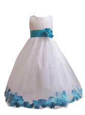 Flower Girl Dress Rose Petal White, Turquoise