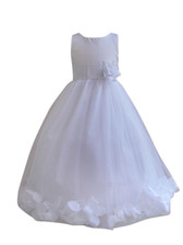 Flower Girl Dress Rose Petal White, White