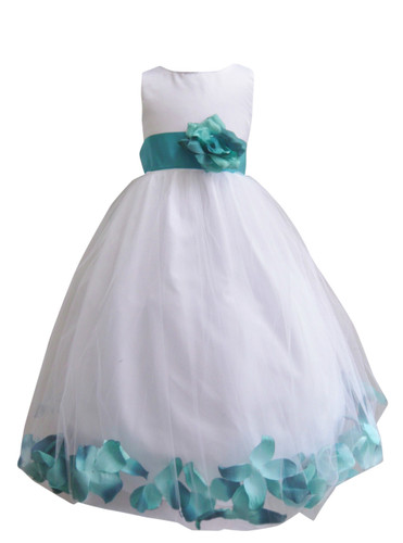 Flower Girl Dress Rose Petal White, Teal