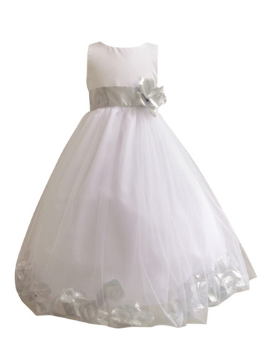 Flower Girl Dress Rose Petal White, Silver