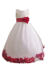 Flower Girl Dress Rose Petal White, Red Cherry