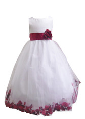 Flower Girl Dress Rose Petal White, Red