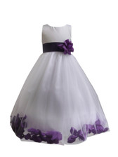 Flower Girl Dress Rose Petal White, Purple
