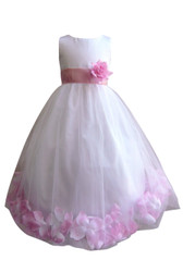 Flower Girl Dress Rose Petal White, Pink Light