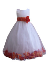Flower Girl Dress Rose Petal White, Orange