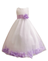 Flower Girl Dress Rose Petal White, Lilac