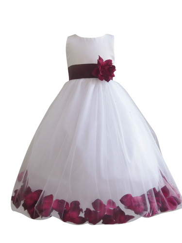 Flower Girl Dress Rose Petal White, Burgundy